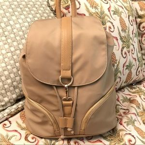 Firano Beige Backpack with Draw String Clip Bag